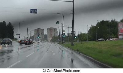 rain fall car highway