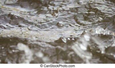 Rain falling down on water