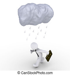 Rain falls on running businessman