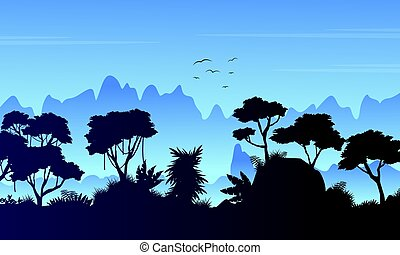 Rain forest scenery silhouette style