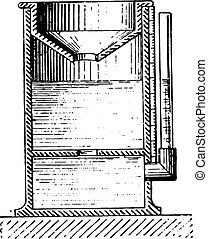 Rain gauge or Pluviometer, vintage engraving.