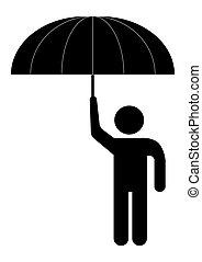 rain., homme, parapluie, sous
