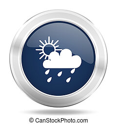 rain icon, dark blue round metallic internet button, web and mobile app illustration