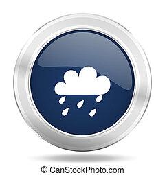 rain icon, dark blue round metallic internet button, web and mobile app illustration