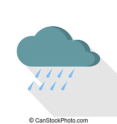 Rain icon, flat style - Rain icon. Flat illustration of rain...
