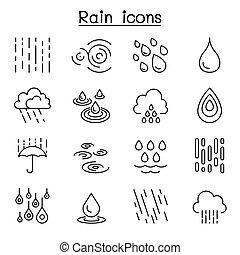 Rain icon set in thin line style