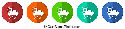 Rain icon set, red, blue, green and orange flat design web buttons isolated on white background, vector illustration