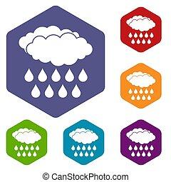 Rain icons set hexagon