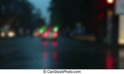 Rain in city night
