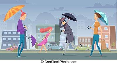 Rain in city. People walking with umbrella in urban landscape vector background seasonal concept