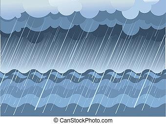 Rain in sea.Vector water landscape