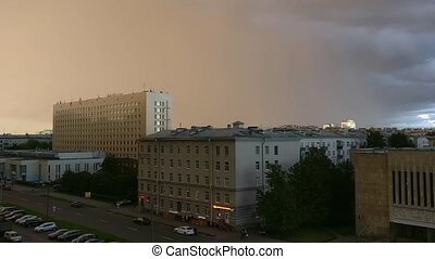 Rain in St. Petersburg - Rain and lightning passing over...