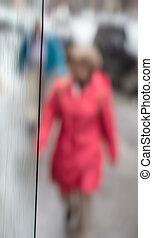 Blurred scene of urban life