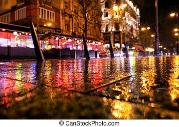 Rain in the city Budapest, Hungary
