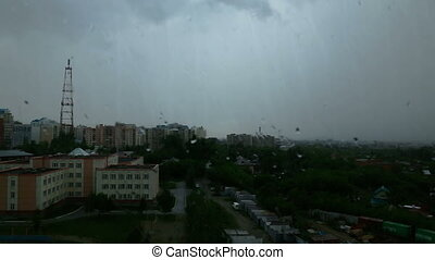 Rain in the city, morning - Heavy rain in the morning city,...