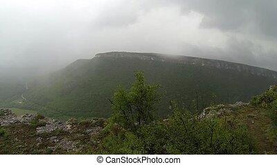 Rain in the mountains. Crimea. Ukraine. Plateau Baba-Dag....