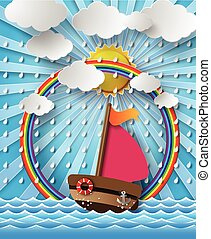 rain., moln, segelbåt