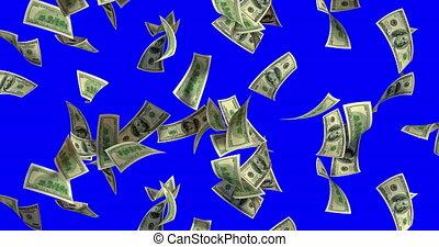 Rain of 100 dollar bills. 3D render