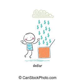 Rain of dollars. Illustration.