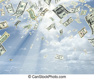 Wealth idea in a metaphor of rain of dollars.
