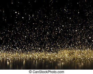 rain of glittering gold dust on a black background. macr ...