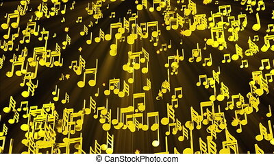 Rain of golden musical notes, computer generated. 3D rendering melodic backdrop