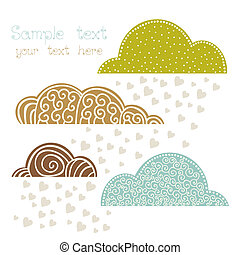 rain of heart with clouds, autumn background