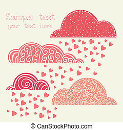 rain of heart with clouds in pink