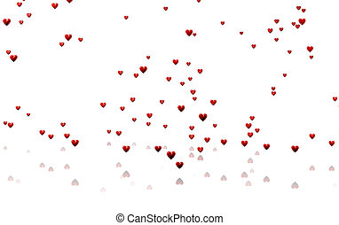 Many Tiny Red Hearts with a White Background - Rain of Many...