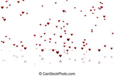 Many Tiny Red Hearts with a White Background - Rain of Many...