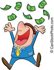 very happy man under a rain of cash