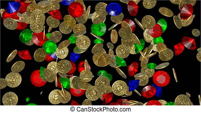 Rain of vintage gold coins. 3D render - Rain of vintage gold...