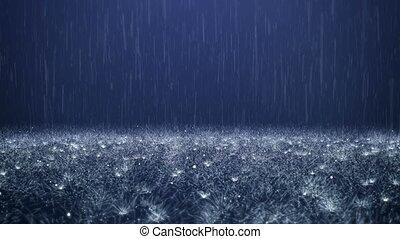 Rain on darkly blue background