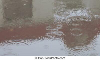 Rain on dirty asphalt