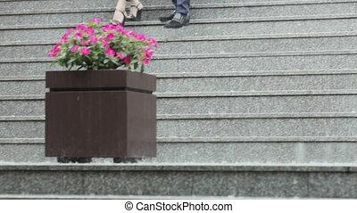 Rain on granite stairs