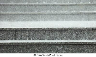Rain on granite steps
