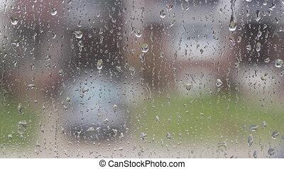 Rain on suburban window.