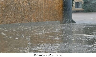 rain on the asphalt road movement autumn