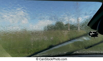Rain on the windshield of the car. View from inside the cabin.