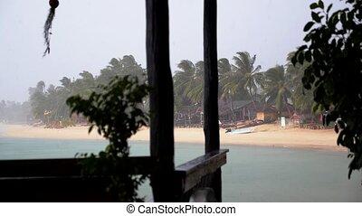 Rain on Tropical Island. Bad Weather on Holidays.