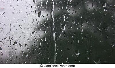 Rain on window.