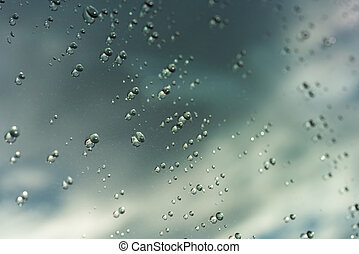 rain or water drops on a window glass