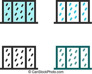 Rain outside the window, set