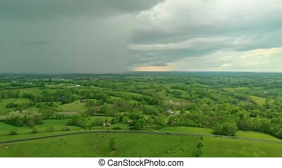 Rain over Central Kentucky countryside - Aerial view of rain...