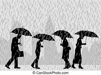 Rain people - Editable vector illustration of people on a...