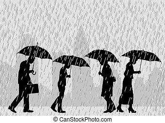 Rain people - Editable vector illustration of people on a ...