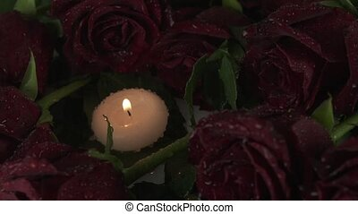 Rain pours candles and red roses sorrow for dead slow motion...