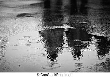 Rain - Puddle of water in rain - selective focus