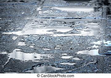 rain puddles on a pavement