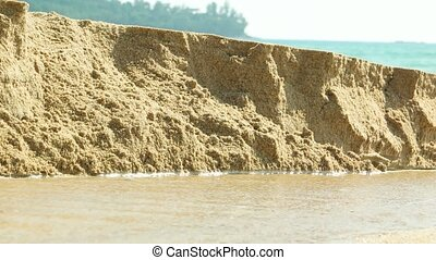 "Rain Runoff Eroding Beach Sand - ""Rain runoff erodes sand,..."